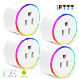 Smart Plug With WiFi Night Light Outlet Mini Plug Compatible with Alexa(Echo,Echo Dot), Google Home and IFTTT, Wireless Socket Remote Control Timer Plug Switch, No Hub Required (4 Packs) (Color: Wifi Smart Plug*4Plug)