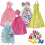 Mix Style Handmade Gorgeous Barbie Doll Party Clothes Dress x5 & Shoes x 10 Gift