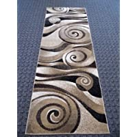 Modern Area Runner Rug 32 In. X 7 Ft. Design S 258 Champagne