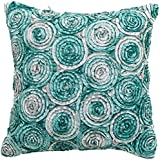 Avarada Triple Colour Floral Bouquet Throw Pillow Cover Decorative Sofa Couch Cushion Cover Zippered 16x16 Inch (40x40 cm) Teal