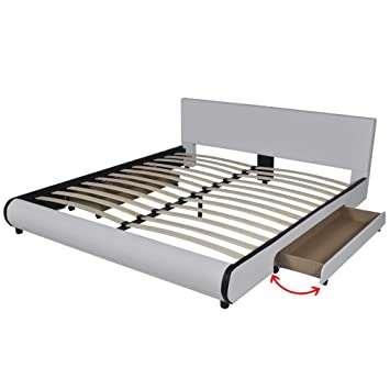 Festnight - Bed in white artificial leather with 2 drawers Letto moderno in pelle artificiale bianco con 2 cassetti