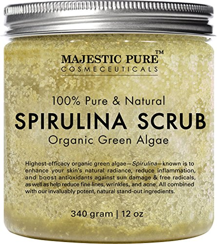 Spirulina Body Scrub from Majestic Pure, Natural Skin Care with Vitamin E and Dead Sea Salt, Fights Acne, Softens and Cleanses Skin, 12 oz (Natural Skin Care For Acne compare prices)