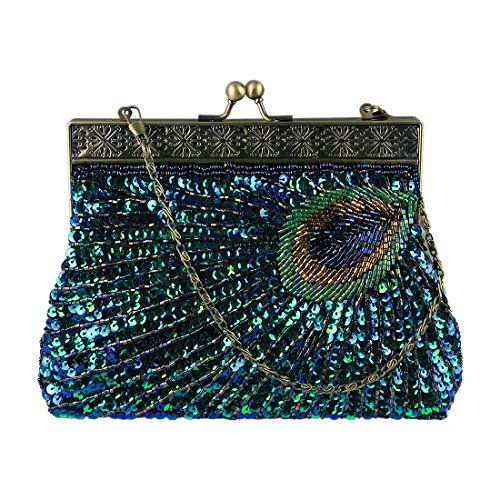 Ecosusi Antique Beaded Sequin Turquoise Sunburst