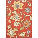 Safavieh Blossom Collection BLM673A Handmade Wool Area Rug, 4-Feet by 6-Feet, Rust and Multi