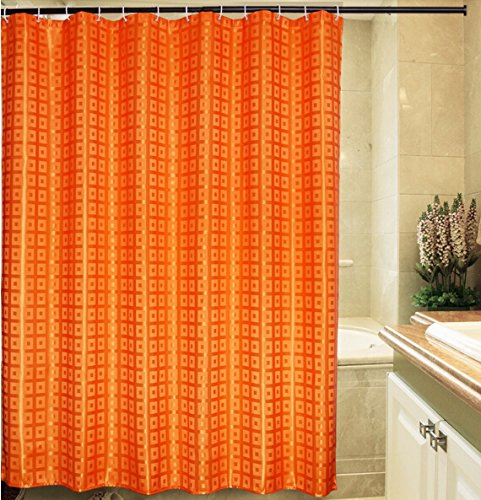 Eforgift Waterproof Shower Curtain Solid,Fabric Bath Curtains,72-inch By 72-inch (luxury Orange)