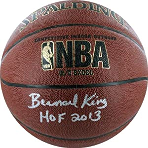 NBA New York Knicks Bernard King Autographed Basketball with HOF Inscription, Brown by Steiner Sports