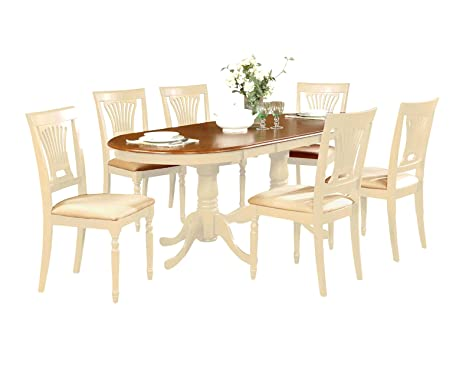 East West Furniture PLAI5-WHI-C 5-Piece Dining Table Set