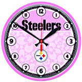 NFL Pittsburgh Steelers Pink Background Round Clock Amazon.com
