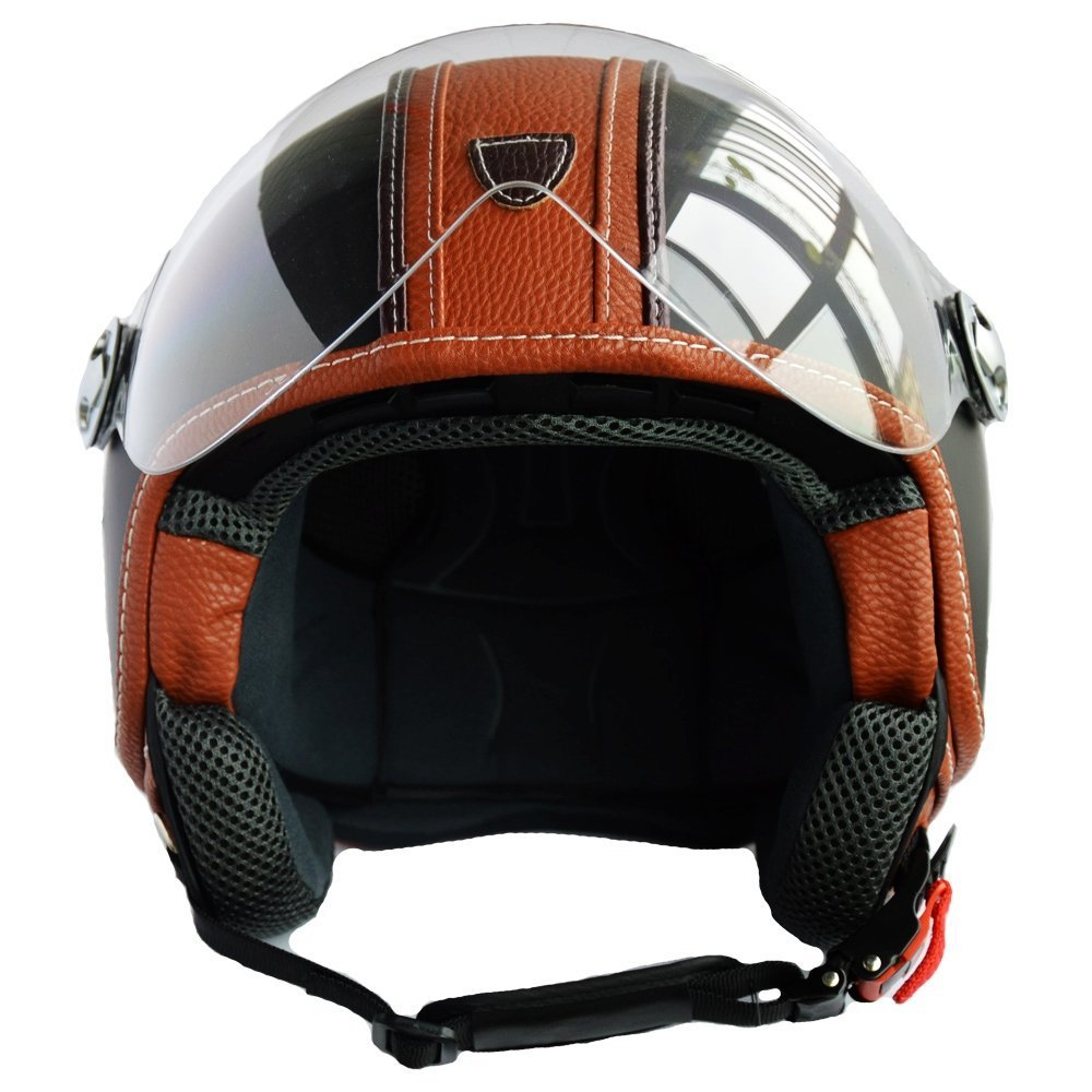 PEDA Italian Design (MOCA B) ECE DOT Motorcycle Helmet,Unisex Open Face ITALY Jet Sport Urban Vintage CASCOS,Leather Style,Capacete,Half Helmet (Medium) 2