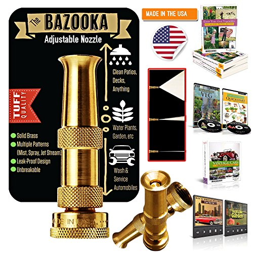 Outbacktuff® Brass Hose Nozzle Sprayer ~ High Power Pressure Washer ~ Garden / Auto / Deck