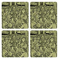Posterboy The Intellectuals MDF Coaster Set, Set of 4, 101mm, Multicolor