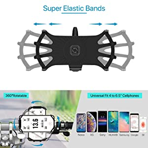 Universal Fits for iPhone Xs Max//Xs//X// 8 Plus// 8//7// 6s Plus Motorcycle Phone Mount All Screen Friendly and 360/°Rotation Silicone Bicycle Phone Holder VUP Bike Phone Mount 4-6.5 Cell Phones