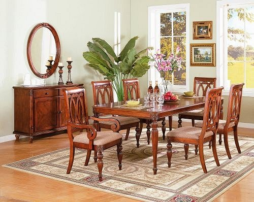 Black Friday 7pc Traditional Style Brown Dining Room Table Chair Set Ch