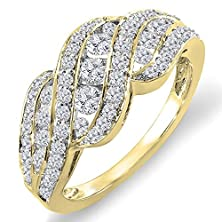 buy 1.00 Carat (Ctw) 14K Yellow Gold Round Diamond Ladies Cocktail Right Hand Ring 1 Ct (Size 8)