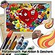 Holzmosaik Hochzeitspuzzle - PORTOFREI inkl. Hochzeitsbuch gratis - kreative Hochzeitsspiele zum Bemalen Set inkl. Farben und Pinsel - Holzpuzzle zur Hochzeit mit Herz in der Mitte 55x40 Rahmen Schwarz