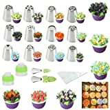 Russian Piping Tips Cake Decoration Baking Set 26 pcs-14 icing Nozzel (2 leaf Tips)+10 Baking Pastry Bags+2 Couplers Frosting Tips Set (26 pcs) (Color: W-001)