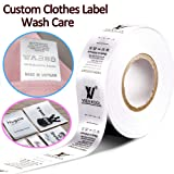 100pcs Custom Printed Satin Ribbon Fabric Label Sew On Clothes Name Brand Tag Wash Care (Color: Black Design on White Label, Tamaño: 1.2
