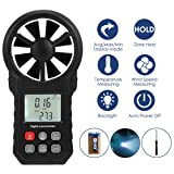 LIUMY Digital Anemometer Wind Speed Gauge for Measuring Speed Avg|Max|Min Wind Speed, Temperature, Wind Chill with Adjustable LED Backlight and Flashlight Suitable for Outdoor Climbing Surfing