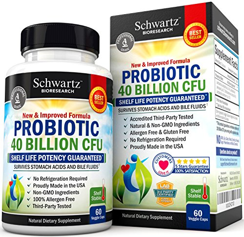Probiotics 40 Billion CFU. Guaranteed Potency until Expiration. Patented Delay Release, Shelf Stable Probiotics Supplement. Dairy Free Probiotic with acidophilus. Best Probiotics for Women & Men.