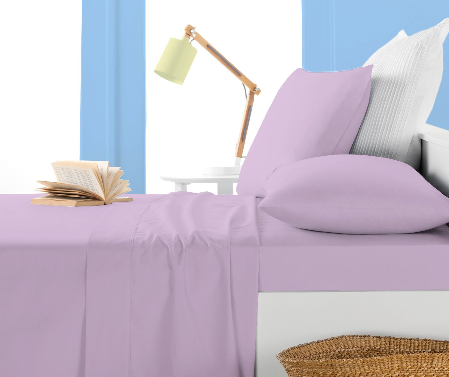LACASA BEDDING 600 TC Pima Cotton Fitted sheet Italian Finish Solid ( Short Queen ,Lavender ) наволочка к детскому эргономическому матрасику cocoonababy s 3 fitted sheet s3 fdc powder blue