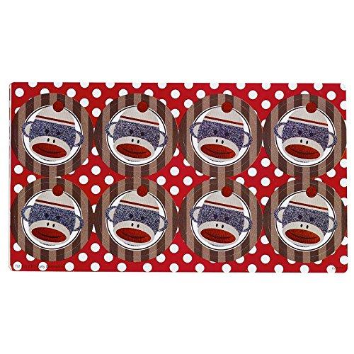 Sock Monkey Red Small Lollipop Sticker Sheet at 'Sock Monkeys'