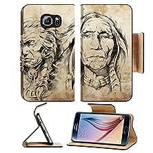 buy Msd Samsung Galaxy S6 Flip Pu Leather Wallet Case Tattoo Sketch Of American Indian Elders Drawing Image 13028725