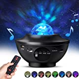Night Light Projector with Remote Control, Eicaus 2 in 1 Star Projector with LED Nebula Cloud/Moving Ocean Wave Projector for Kids Baby, Built-in Music Speaker, Voice Control, Multifunctional (Color: Black)