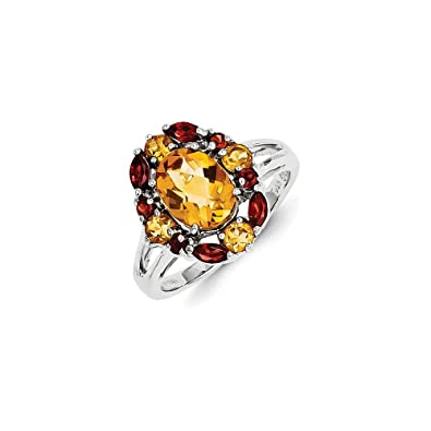 Sterling Silver Citrine & Garnet Ring