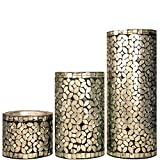Mosaic Candle Holder , Pillar Candle Holder - Silver Color Set Of 3