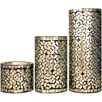 Coolethnic Decorative Antique Pillar Candle Holder - Silver & Onyx Mosaic (Set Of 3)