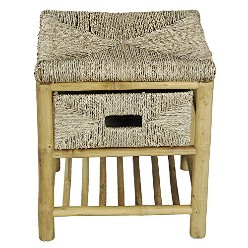 Heather Ann Creations Single Drawer Bamboo Open Frame Bench With Seagrass Weave And Shelf 18 1