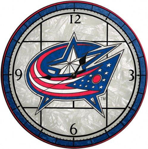 Columbus Blue Jackets 12in Art Glass Clock NHL Hockey Fan Shop Sports Team Merchandise