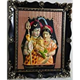 Laps Of Luxury - Lord Shiva Family (Parivar) God Idol Wall Hanging Glass Photo Frame In Black Border Finish (19x16...