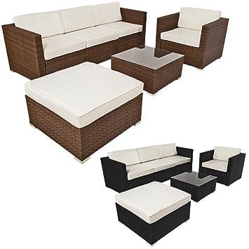 TecTake Luxury rattan garden furniture sofa set outdoor wicker - different colours - (Brown)
