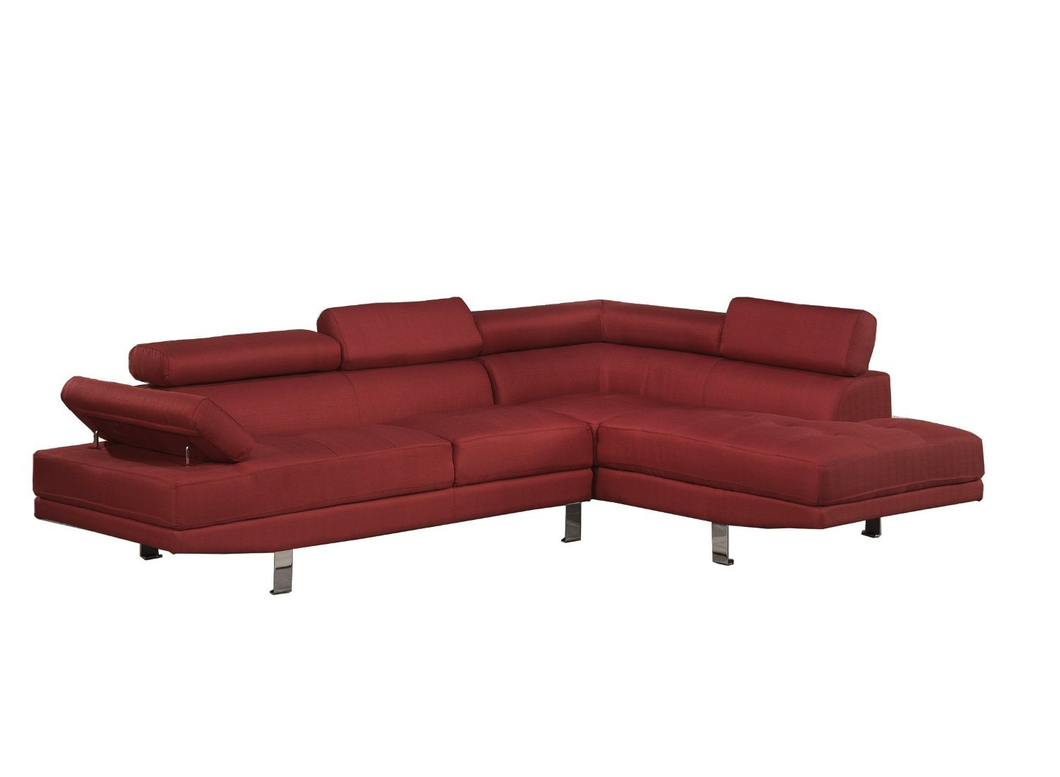 Modern Contemporary Linen Sectional Sofa with (Red)