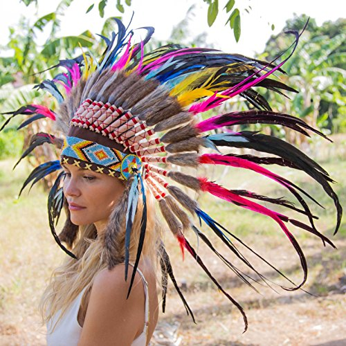 Indian Headdress | Native American Headdress | multiple color feathers