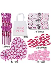 "133 Piece Pink Ribbon Favors to Promote Breast Cancer Awareness / Perfect for Fundraising / 12 Pink Ribbon Folding Fans; 12 Pink Ribbon Camouflage Bracelets; 24 Pink Ribbon Camouflage Rings; 72 Breast Cancer Awareness Sassy Glitter Tattoos; 12 Pink Ribbon Rope Pens! With ""Think PINK"" Tote Bag."