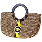 Straw Handbag with Bee