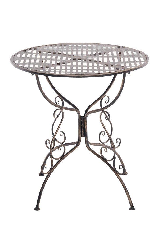 CLP handgefertigter runder Eisentisch AMANDA in nostalgischem Design, Durchmesser Ø 70 cm (aus bis zu 6 Farben wählen) bronze jetzt bestellen