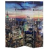 Paravento LED con timer legno con stampa in tessuto pieghevole New York ~ 4 pannelli