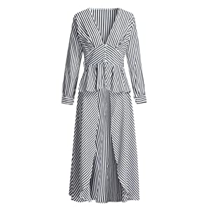 Willow S Women Loose Casual Fishbone Print V Neck Long Sleeved Loose Summer Dress with Pockets