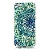 """VCOER iPhone 6 Funda 4.7 """" - La Piel de TPU Protector de la Cubierta Suave Carcasa de Silicona Caso para iPhone 6 4.7 pulgadas - El Totem Flores Verde"""