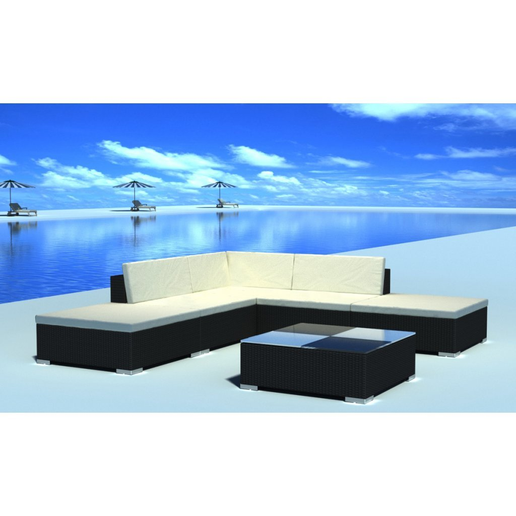 vidaXL Gartenmöbel Poly Rattan Set Lounge Schwarz 15-teilig