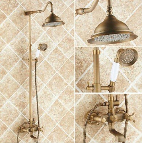 Rozin Antique Brass Bathroom Shower Faucet Set 8 Inch Shower Head + Hand Spray (Shower Head Antique Brass compare prices)