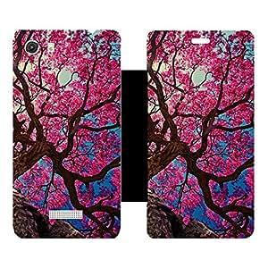 Skintice Designer Flip Cover with Vinyl wrap-around for Micromax Canvas Unite 3 Q372, Design - Color tree