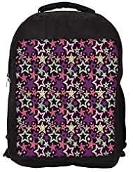 Snoogg Star Pattern Purple Backpack Rucksack School Travel Unisex Casual Canvas Bag Bookbag Satchel