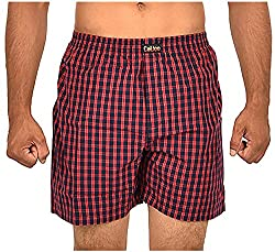 CALICO Men's Cotton Boxers (CAL_23_M, Red and Black, M)