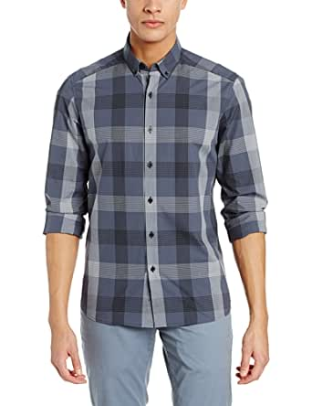 Kenneth Cole New York Men's Linear Plaid Shirt, Night Owl Combo, Large