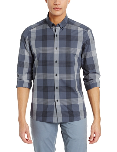 Kenneth Cole New York Men'S Linear Plaid Shirt, Night Owl Combo, Xx-Large