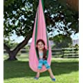 HearthSong HugglePodTM Indoor/Outdoor Canvas Hanging Chair, in Pink